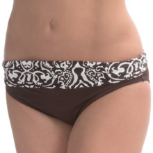 Sunsets Riviera Banded Bikini Bottoms - Mid Rise (For Women) in Brown/White - Closeouts