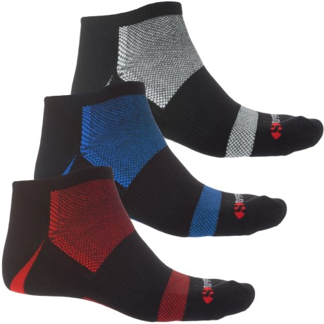 Superga Athletic Socks - 3-Pack, Below the Ankle (For Men) in Black W/Blue/White/Red