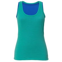super.natural Double-Layer Tank Top - Merino Wool, Fully Lined (For Women) in Pool Green/Princess Blue - Closeouts