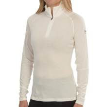 super.natural Midweight Base Layer Top - Merino Wool Blend, Zip Neck, Long Sleeve (For Women) in Latte - Closeouts