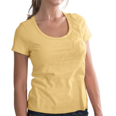 Supersoft Pima Cotton Shirt - Leaf Embellishments, Short Sleeve (For Women) in Yellow