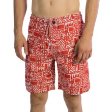 Surfside Supply Company Printed Swim Trunks - Mesh Inner Brief (For Men) in Chilli Red - Closeouts