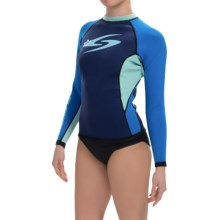 Surftech 1.5mm Neoprene Rash Guard - Long Sleeve (For Women) in Blue/Turquoise - Closeouts
