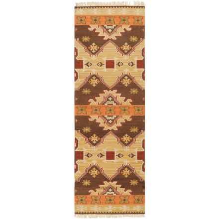 "Surya Jewel Tone II Floor Runner - 2'6""x8', Handwoven Wool in Camel/Burnt Orange/Tassled - Closeouts"