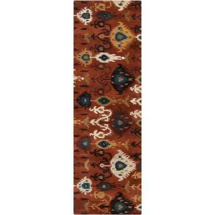 """Surya Surroundings Floor Runner - 2'6""""x8', Hand-Tufted Wool in Burnt Orange/White - Closeouts"""