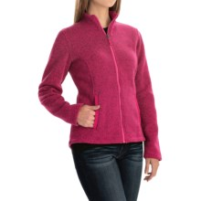 Sweater-Knit Fleece Jacket (For Women) in Pink Print - 2nds