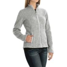 Sweater-Knit Fleece Jacket (For Women) in White Print - 2nds