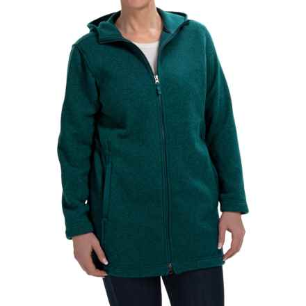 Sweater-Knit Fleece Parka - Hooded (For Women) in Petrol Teal Heather - 2nds