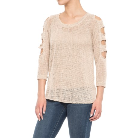 Sweet Romeo Cage Sleeve Knit Shirt - 3/4 Sleeve (For Women) in Bone