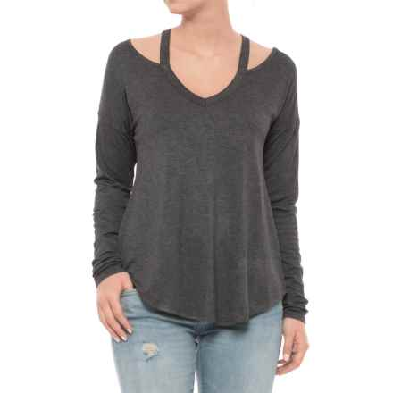 Sweet Romeo Cold-Shoulder Shirt - Long Sleeve (For Women) in Charcoal - Closeouts