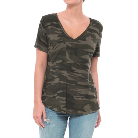Sweet Romeo V-Neck Camo T-Shirt - Short Sleeve (For Women) in Camo Green