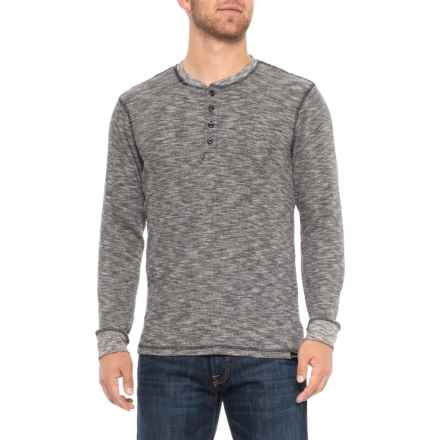 Swiss Alps Space Dye Thermal Henley Shirt - Long Sleeve (For Men) in Black Space Dye - Closeouts