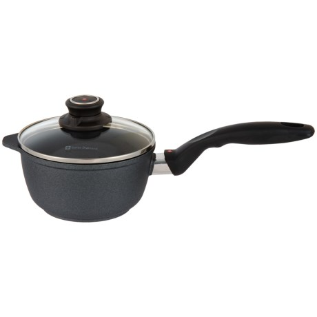 "Swiss Diamond Classic Sauce Pan with Lid - 6.3"" in Black"