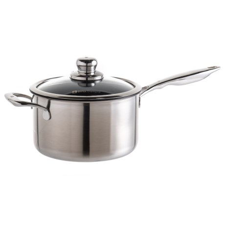 Swiss Diamond Diamond Nonstick Clad Sauce Pan with Lid - 3.7 qt. in Black/Silver