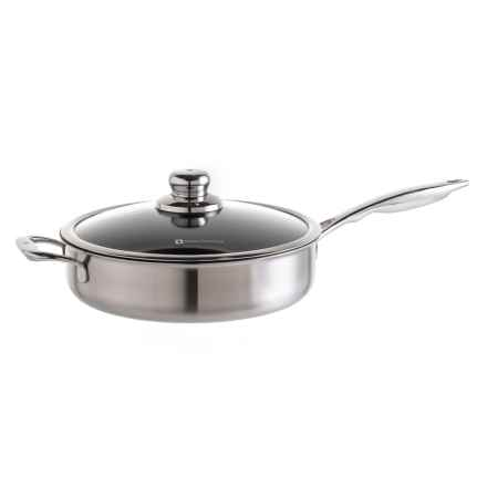 Nonstick Clad Saute Pan with Lid - 4.2 qt in Black/Silver - Closeouts