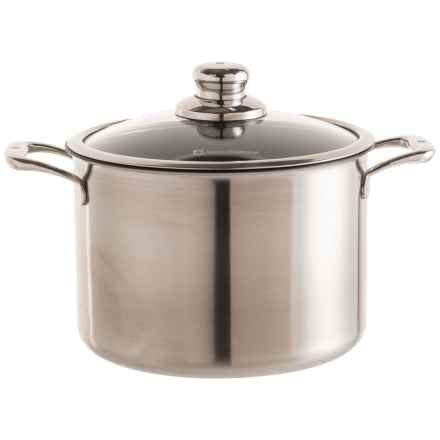 Nonstick Clad Stock Pot with Lid - 7.9 qt. in Black/Silver - Closeouts