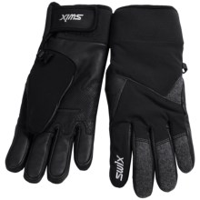 Swix Buck Gloves - Waterproof (For Men) in Black/Grey - Closeouts