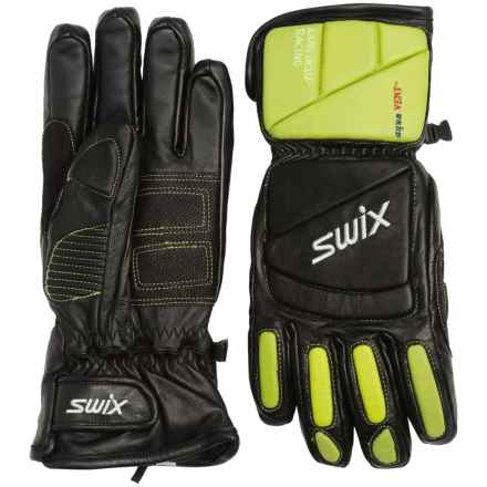 Swix Davos Alpine Leather Racing Gloves - Waterproof, Insulated (For Men) in Black/Green - Closeouts