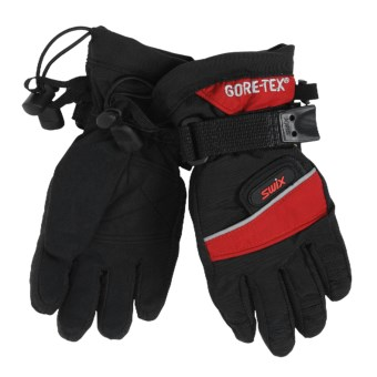 Swix Utility Gore-Tex® Gloves - Waterproof, Insulated (For Kids) in Black/Crimson