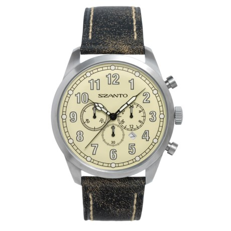 Szanto 2000 Series Classic Chronograph Watch Calfskin Leather Band (For Men)