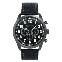 Szanto 2000 Series Classic Vintage Chronograph Watch - Pebbled Calfskin Strap (For Men) in Black/Black - Closeouts