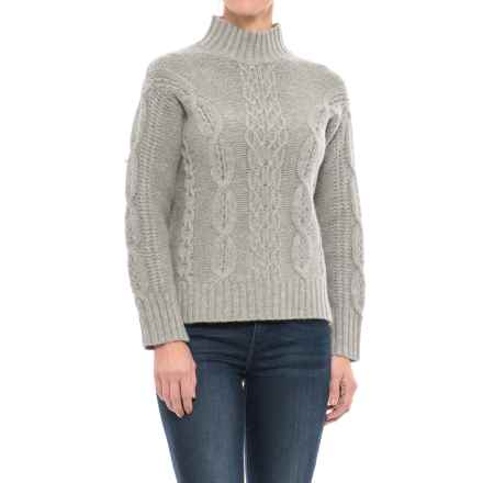 T Tahari Tahari Cable-Knit Sweater - Lambswool Blend (For Women) in Pebble Heather - Closeouts