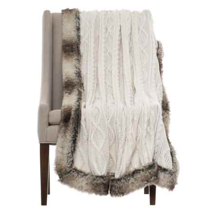 "T Tahari Tahari Cable-Knit Throw Blanket - 50x60"", Faux-Fur Trim in Ivory - Closeouts"