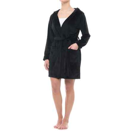 T Tahari Tahari Plush Robe with Pockets - Hooded, Long Sleeve (For Women) in Black - Closeouts