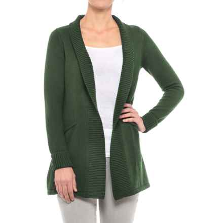 T Tahari Tahari Ribbed Open Cardigan Sweater (For Women) in Dark Moss - Closeouts