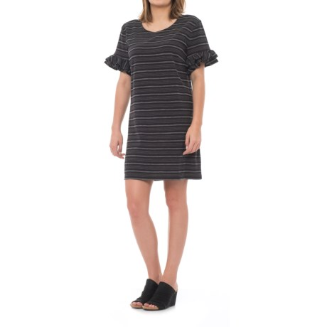 Tabitha Webb Cotton Dress with Ruffle Sleeves - Short Sleeve (For Women) in Black/Ivory