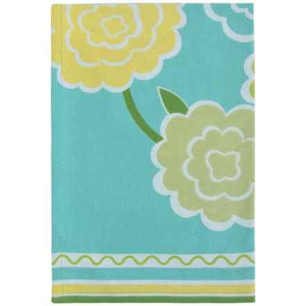 Tag Ariel Floral Dish Towel - Cotton in Aqua - Closeouts