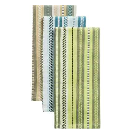 Tag Artisan Stripe Dish Towels - Set of 3 in Natural - Closeouts