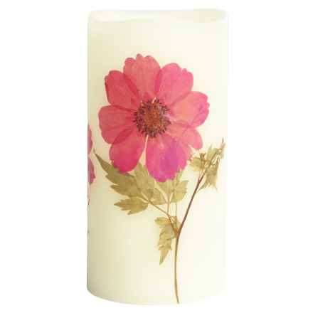 """Tag Aster Wildflower Flameless LED Pillar Candle - 3x6"""" in Aster Wildflower - Closeouts"""
