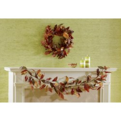 Tag Autumn Leaves Wreath in Multi  Harvest