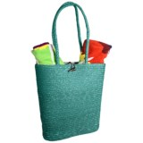 Tag Beach Tote Bag - Woven Straw