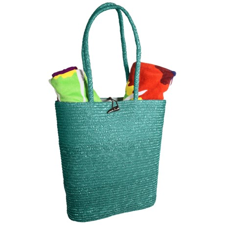 Tag Beach Tote Bag - Woven Straw in Teal