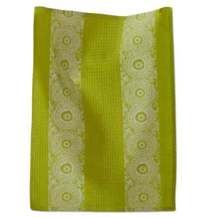 Tag Blooms Jacquard Dish Towel in Chartreuse - Closeouts
