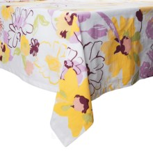 """Tag Blooms Tablecloth - 84x60"""" in White - Closeouts"""