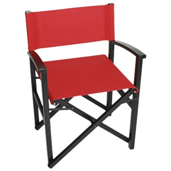 Tag Campaign Wood Frame Folding Chair in Black/Red
