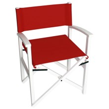 Tag Campaign Wood Frame Folding Chair in White/Red - Closeouts