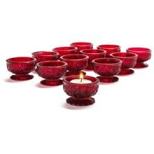 Tag Celeste Mini Tea Light Holders - Cut Glass, Set of 12 in Red - Closeouts
