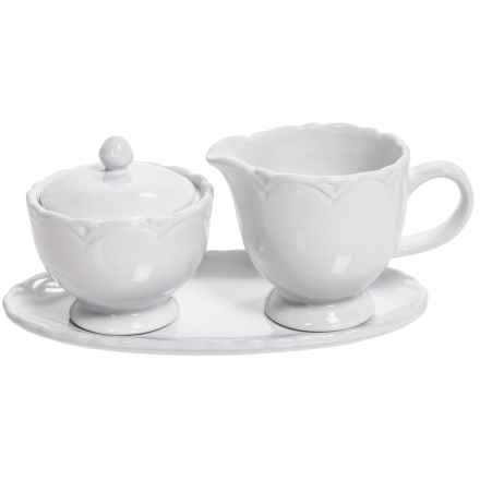 Tag Ceramic Creamer and Sugar Set with Tray in White - Closeouts