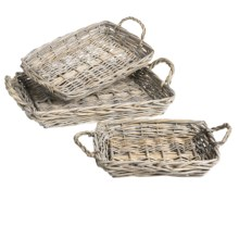 Tag Chalet Basket Serving Trays - Set of 3 in Grey - Closeouts