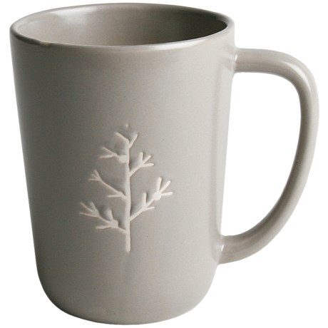 Tag Chalet Mugs - Set of 8, Stoneware in Grey Tree