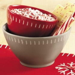 Tag Chalet Stoneware Bowls - Set of 2 in Red/Grey