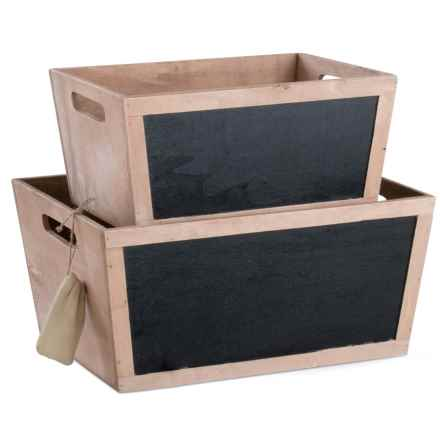 Tag Chalkboard Wooden Bins - Set of 2 in Chalkboard - Closeouts