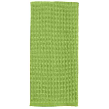 Tag Chambray Waffle-Weave Dish Towel in Bright Green - Closeouts