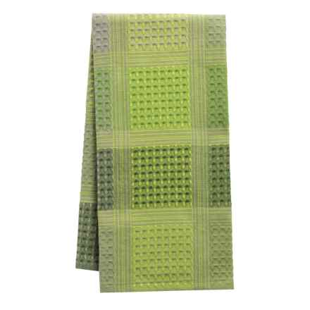 Tag Check Waffle-Weave Dish Towel in Olive - Closeouts