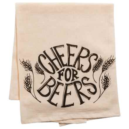 Tag Cheers for Beers Flour Sack Dish Towel in Brown - Closeouts