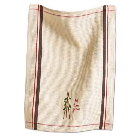 Tag Embroidered Waffle Weave Dish Towel in Natural